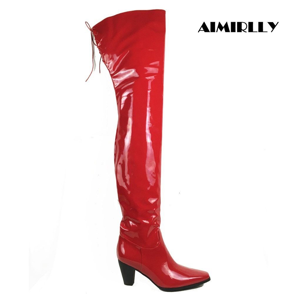 Women Ladies Square Toe Block Heel Over the Knee Boots Ankle Zipper Top Tied Red Patent