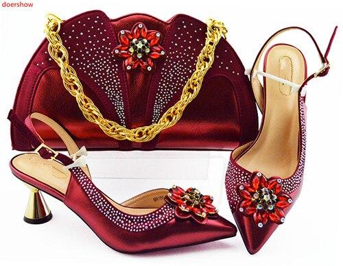 Doershow belos Sapatos Combinando e Bolsa de Definir Sapato De Casamento Africano e Saco definir Itália Sapato e Bolsa Conjunto Verão Das Mulheres! SLN1-37
