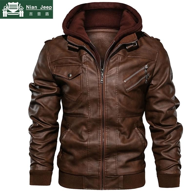 Autumn Winter Motorcycle Leather Jacket Men Windbreaker Hooded PU Jackets Male Outwear Warm Faux Leather Jackets EU Size S-3XL