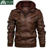 New Autumn Winter Motorcycle Leather Jacket Men Windbreaker Hooded PU Jackets Male Outwear Warm PU Baseball Jackets Size S 4XL