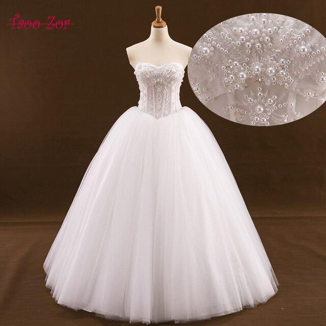 Taoo Zor Chic Beaded Pearls Pattern Ball Gown Wedding Dress 2017 ...