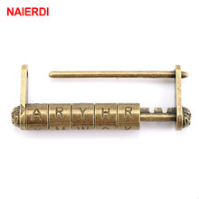 NAIERDI Zinc Alloy Antique Bronze Retro Combination Lock 5 Letter Password Jewelry Box Padlock for Wooden Suitcase Drawer
