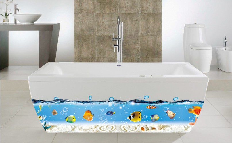 Free Shipping Home Decoration Mural Vinyl Wall Sticker Bathtub Blue Sea Fish Peel and Stick Kids. Online Buy Wholesale bathtub decorations from China bathtub