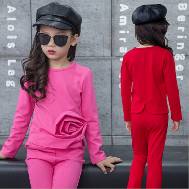 2016 Brand Girls Rose Clothes Set For Autumn Spring Sport Long Sleeve+Pants Girl School Cute Perform Clothes Set Kid Clothes