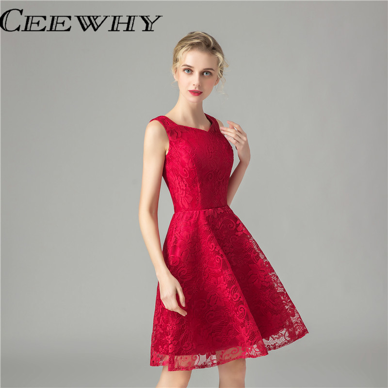 CEEWHY Burgundy Women Formal Gowns Short Party   Dresses   Knee Length Elegant   Cocktail     Dresses   Embroidery Lace Homecoming   Dresses