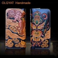 HK OLG.YAT men wallets leather Vegetble tanned handmade wallet mens purse genuine leather Hand-carved handbag Chiwen zipper bags