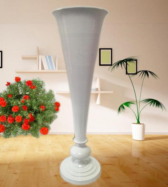 Wholesale Large Mouth 30cm Diameter White Iron Trumpet Vase 100cm