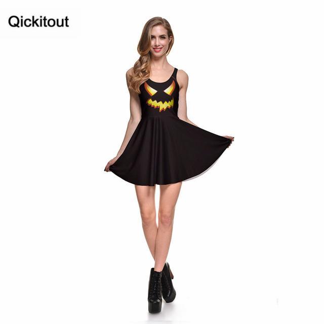 Primavera novedad Sexy ropa mujer dibujos animados vestidos femeninos JACK O linterna SKATER vestido plisado Drop Shipping S119-67