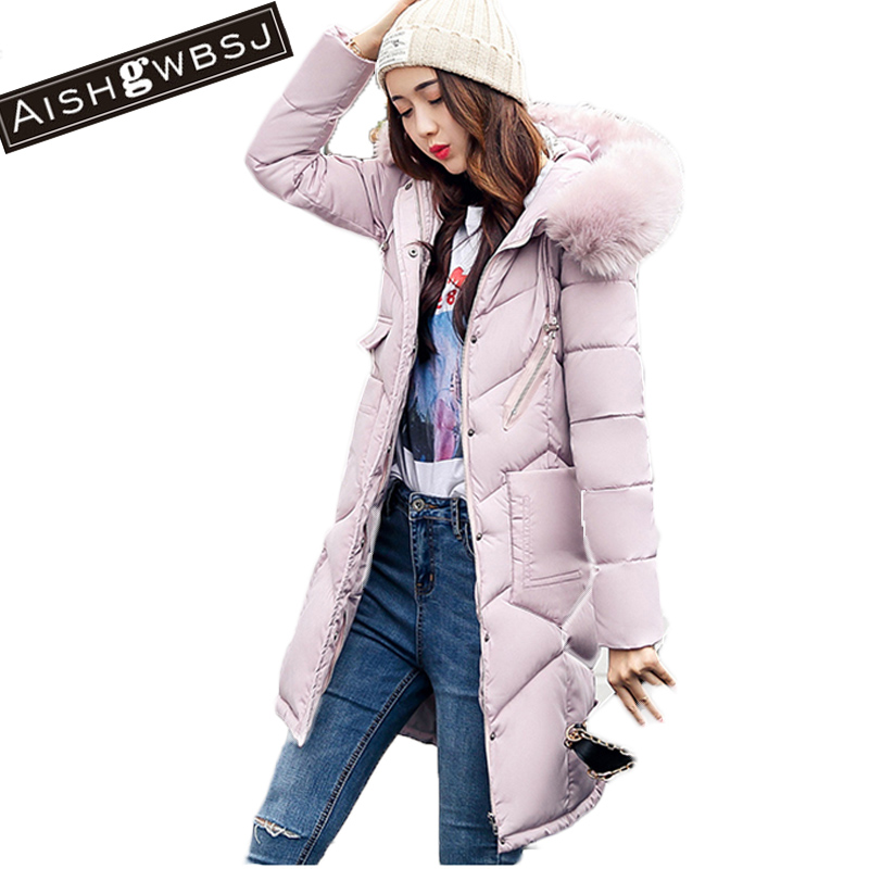 AISHGWBSJ 2017 New Winter Jacket Long Korean Thicker Parkas With Fur Collar Overcoats Padded-Cotton Coats Hooded Coats PL143 aishgwbsj winter women jacket 2017 new hooded female cotton coats padded fur collar parkas plus size overcoats pl155