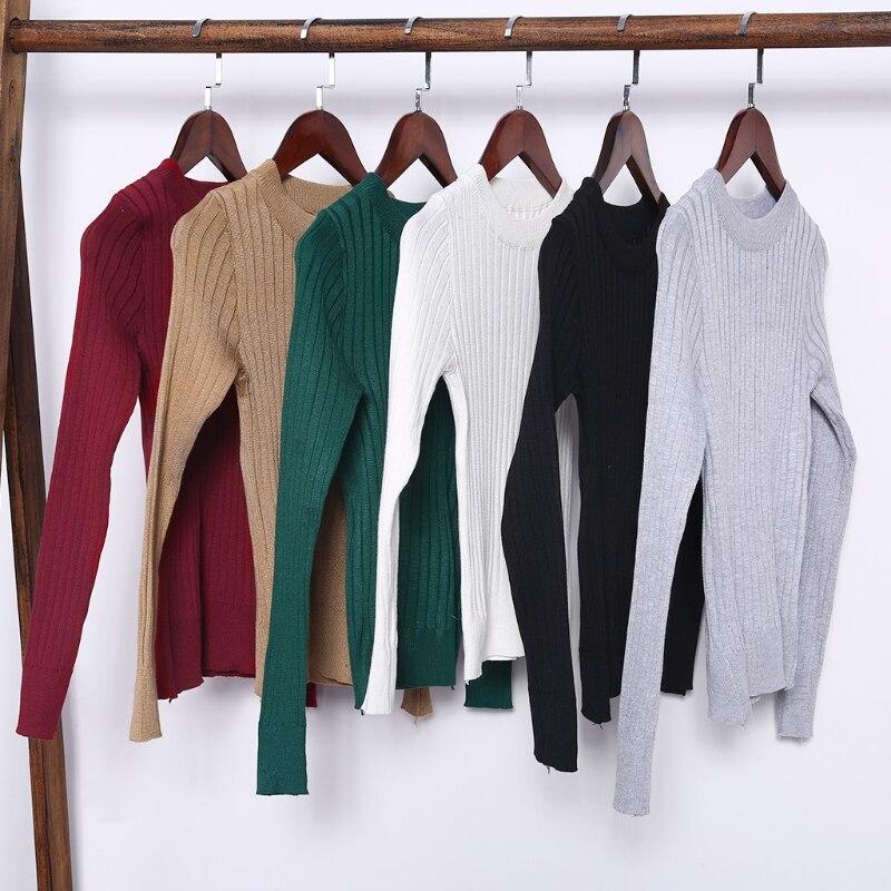 Primavera moda mujeres roscado suéter básica de manga larga de cuello redondo Pullover Tops Jumper pull femme nuevo