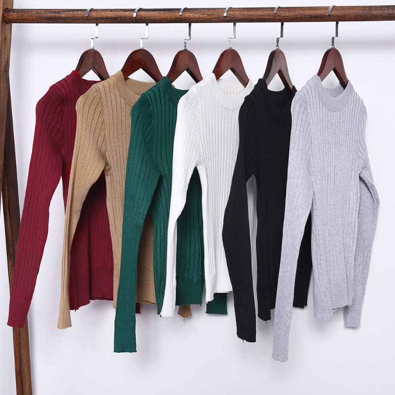 Spring Fashion Women Threaded Knit Sweater Basic Long Sleeve Round Neck Pullover Tops Jumper pull femme New ...