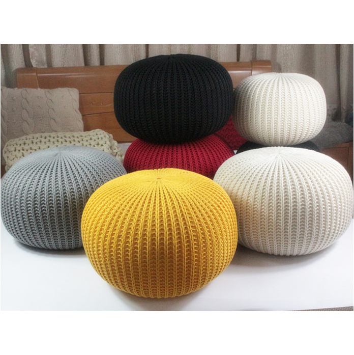 Hand Knitted Woolen Round Cushion POUF Floor Ottoman