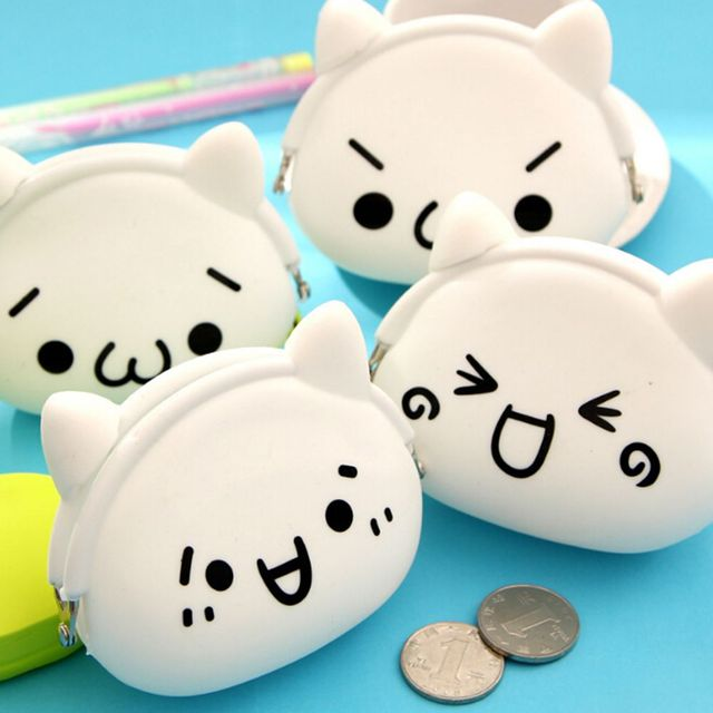 1 PC Silicone Fashion Cartoon Cute Coin Purse Zero Wallet Portable Cartoon Expression Soft Coin Purse Storage Bag Rubber Pouch