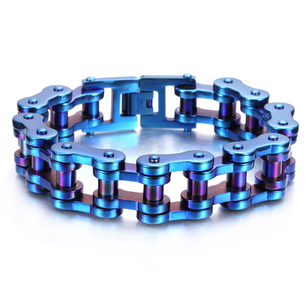 Fashion Blue Stainless Steel Bicycle Jewellery Harley Bike Bracelet Men Biker Bicycle Motorcycle Chain Bracelets Bangles Jewelry 23mm width punk stainless steel bracelet men double biker bicycle motorcycle chain men s bracelets mens big bracelets