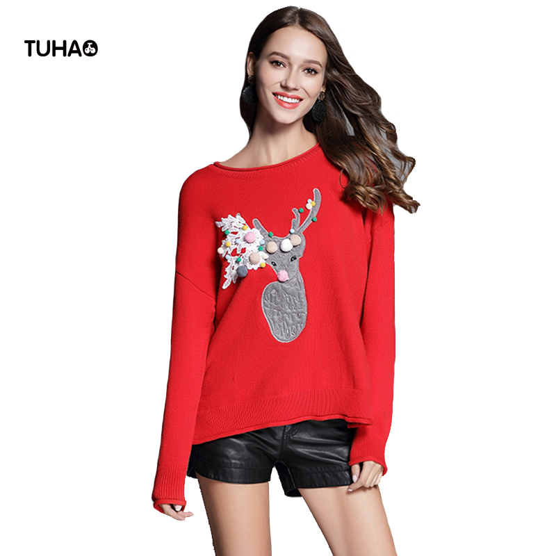 TUHAO Rabbi Velvet Winter Sweaters Women Tops Lace Deer Embroidery Christmas Sweater Loose Casual Pullovers Outerwear TG5266