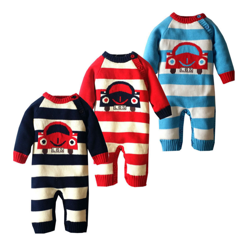 Baby Knitted Sweater Romper 0-18 Months Striped with Car Thick Cotton Long Sleeve Autumn Winter Infant Boy Girl Baby Clothing t100 children sweater winter wool girl child cartoon thick knitted girls cardigan warm sweater long sleeve toddler cardigan