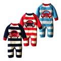 Camisola De Malha do bebê Romper 0-18 Meses Listrado com Carro Algodão Grosso Manga Longa Outono Inverno Infantil Da Menina do Menino a Roupa do bebê