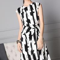 High Quality Silk Office Lady Dress Geometric Print O Neck Sleeveless Summer Work Office Dress Vestidos