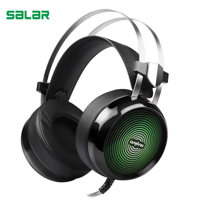 Salar t19 deep bass gaming auriculares estéreo surround over ear headset 3.5mm + usb auriculares con micrófono y luz led para el jugador de pc