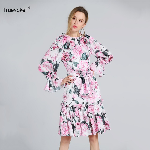 Truevoker Designer Dress Women s High Quality Full Sleeve Cute Pink Floral Printed  Robe Femme Ete Knee 5fb073f5c8c3