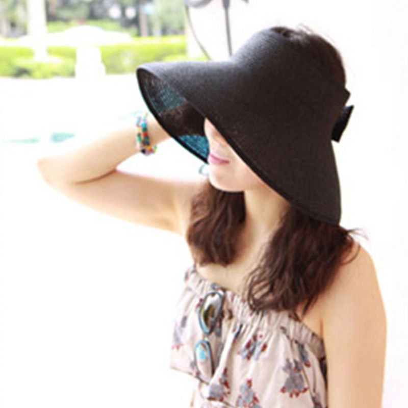 Women Summer Foldable Open Top Straw Sun Hat Bowknot Back Adjustable Breathable UV-Protection Wide Brim Beach Visor Cap 8 Colors