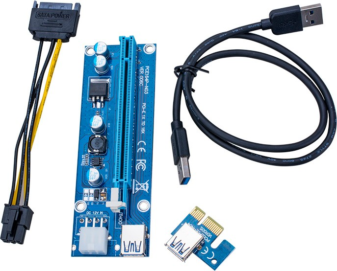 2017 PCIe PCI-E PCI Express Riser Card 1x to 16x USB 3.0 Data Cable SATA to 4Pin IDE Molex Power Supply for BTC Miner Machine
