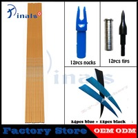Inals Bamboo Skin Carbon Arrows Spine 600 ID6.2mm 32inch 100gr Points 5inch Turkey Feathers Archery Bow Hunting DIY