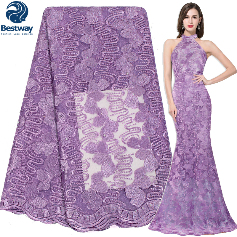 Bestway African French Lace Fabric 2018 Latest Mesh Lace With Stones And Beads Indian Lace Embroidery Tulle Fabric Wedding Dress