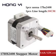 1 шт. 17HS2408 4-свинец Nema17(Национальная ассоциация владельцев электротехнических предприятий) шаговый двигатель 42 двигатель 42bygh 0.6A, сертификация CE, ROSH, ISO станок цифрового управления 3D принтер