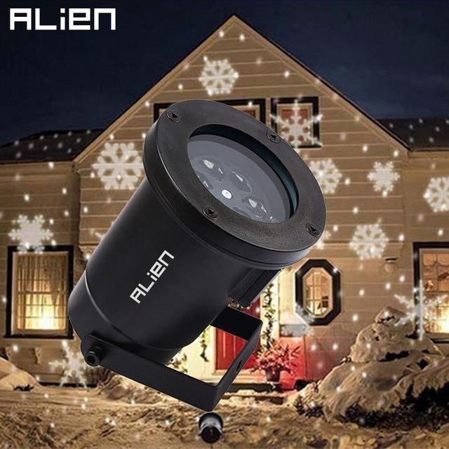 ALIEN LED Moving White Halloween Snowflakes Spotlight Projection Light Outdoor Waterproof Christmas Tree Garden Show Lights