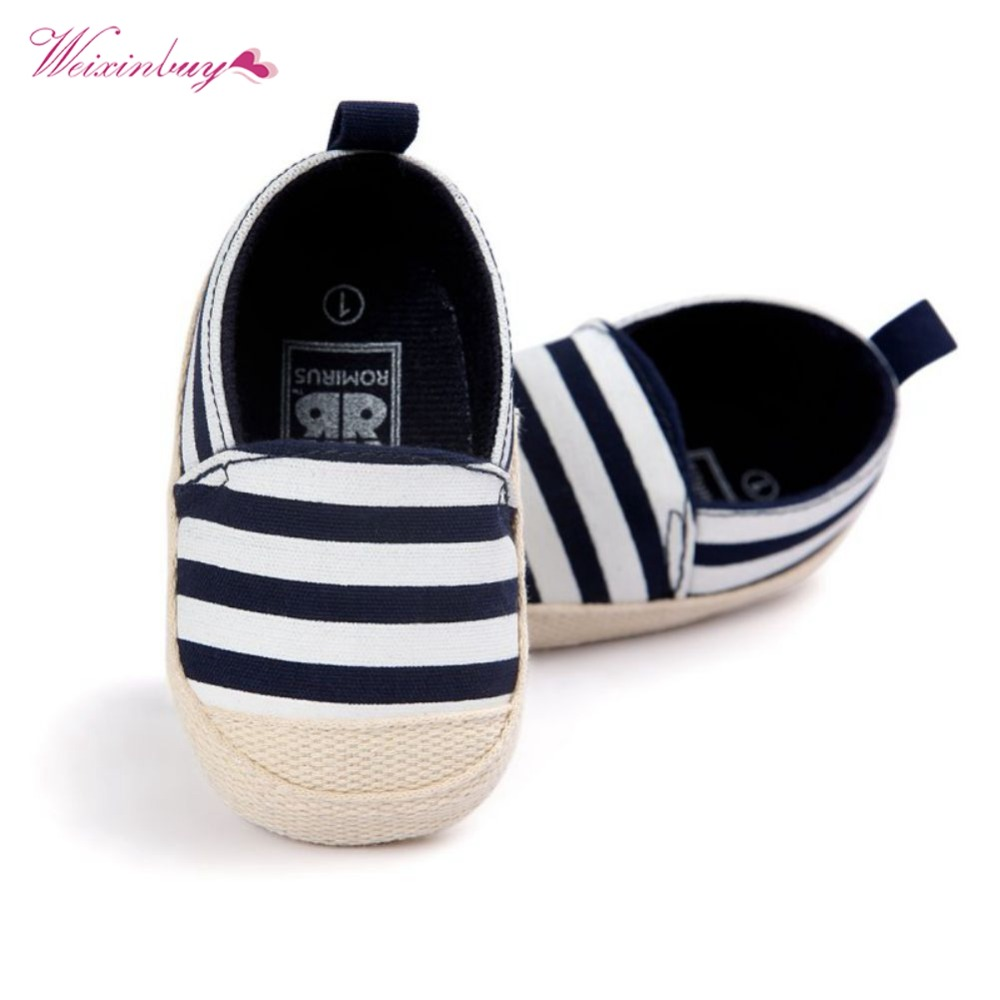 WEIXINBUY Baby Boy Blue Striped Shoes Good Soft Sole Toddler Baby Shoes Lovely Infant First Walkers