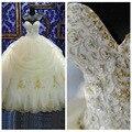 2017 Vestidos de Doces 15 vestido de Baile Quinceanera Vestidos Apliques de Renda Organza de Ouro Frisado Lantejoulas Masquerade Vestidos de Debutante