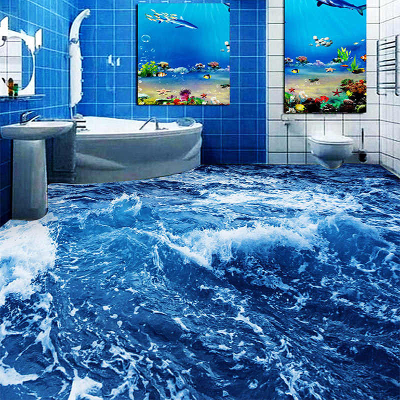 Современный минималистский морской воды 3D Пол фрески обои для ванной нескользящие водонепроницаемые утолщенные самоклеящиеся виниловые обои