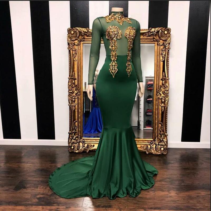Nouveauté robe de bal à manches longues superbe décoration perlée or vert émeraude africaine fille noire sirène robes de bal 2019