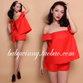 FREE SHIPPING 2016 Summer New Vintage Sweet All Match Orange Strapless Loose Fake Two Piece Romper Women Clothing Jumpsuit