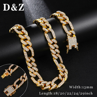 D&Z Alloy with Full AAA+ Rhinestone Gold Necklace Bling Iced Out Miami Cuban Curb Link Chain Necklaces For Men