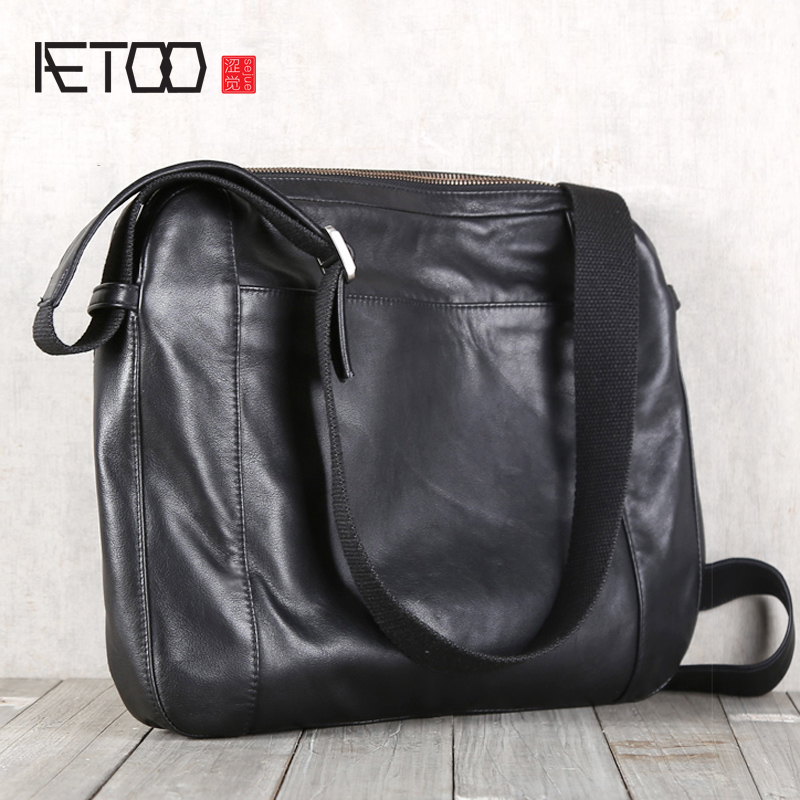 AETOO Mens single shoulder oblique cross Baotou layer cowhide casual BriefcaseAETOO Mens single shoulder oblique cross Baotou layer cowhide casual Briefcase