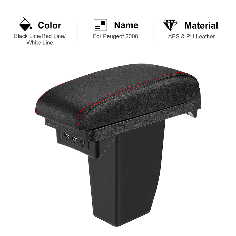 3 USB Armrest Box For Peugeot 2008 Black Leather Center New Storage Box Modification