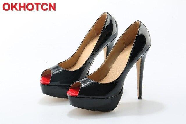 Nude Toe de Charol Negro Peep Toe Nude Zapatos de Plataforma de la Mujer 725995