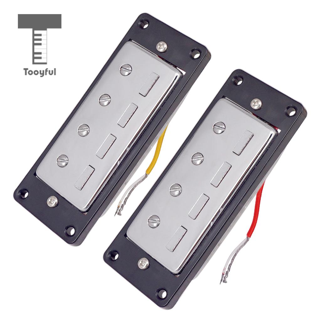 2pcs Plastic Electric Guitar Humbucker Pickups Bridge Neck Set with Black Frame for 4 String Electric Bass Pickups DIY Accessory