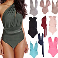 Women Sexy Bodycon Short Jumpsuit Skinny Deep V playsuit Multi Wearing Ways Stylish Jumpsuit Rompers Black Bodysuit BZ861799