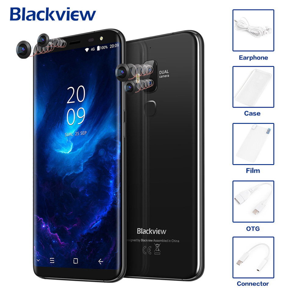 Origine Blackview S8 4g Mobile Téléphone 18:9 HD Affichage Quatre Cames 5.7 ''4 gb + 64 gb Android 7.0 Octa Core 13MP + 0.3MP MTK6750T 3180 mah