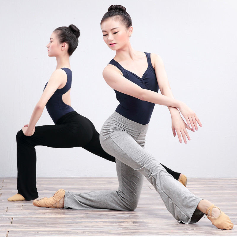 Cotton Flare Long Trousers Women Girls High Waist Stretch Bell-bottoms Ballet Fitness Yoga Dance Pants