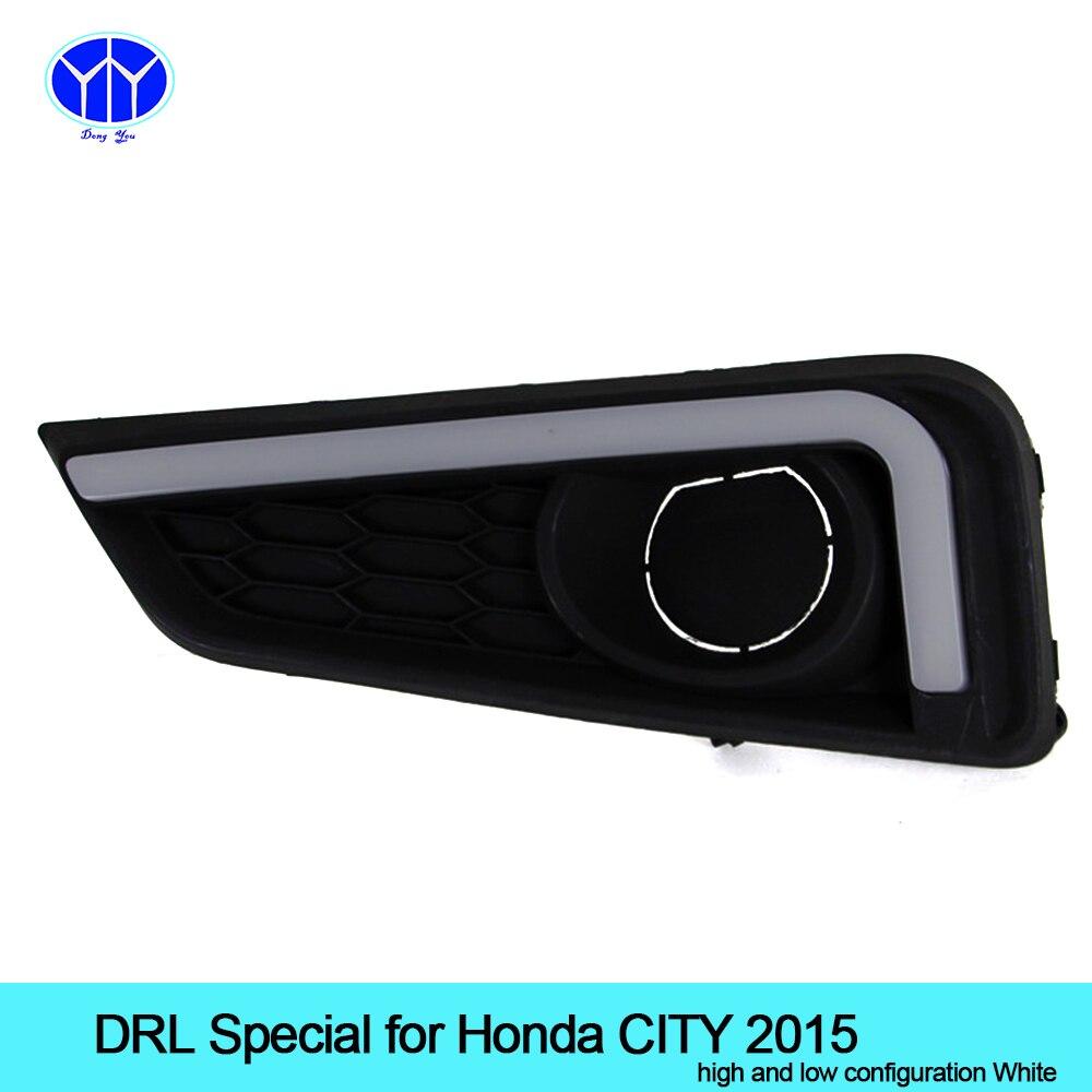 Автомобиль DRL комплект 2шт для Honda города 2015 светодиодные дневные ходовые свет бар супер яркий туман лампы авто Лампа дневного света, для автомобиля светодиодные ДХО 12В