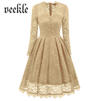 VEKLE Women Autumn Fall Winter Retro Vintage Lace Midi Swing A Line Ball Gown Evening Party