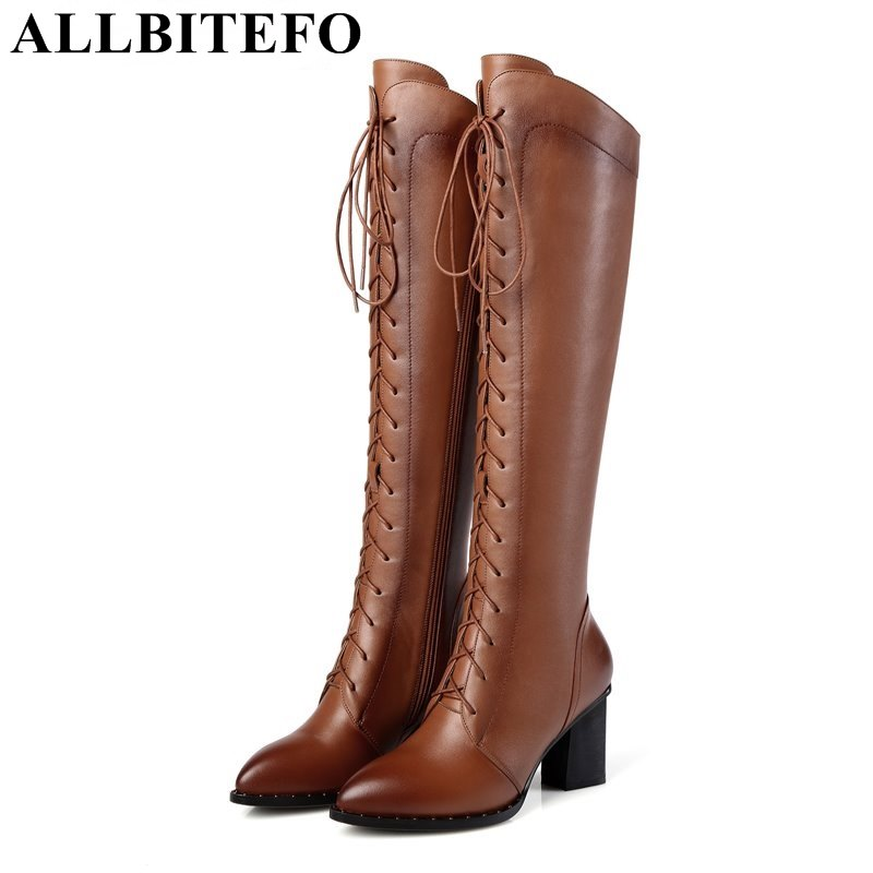 ALLBITEFO Fashion genuine leather pointed toe thick heel women knee high boots winter snow warm boots high heels mujer botas fashion slim rivets thick heel pointed toe zip winter snow boots genuine leather stretch fabric over the knee boots women boots