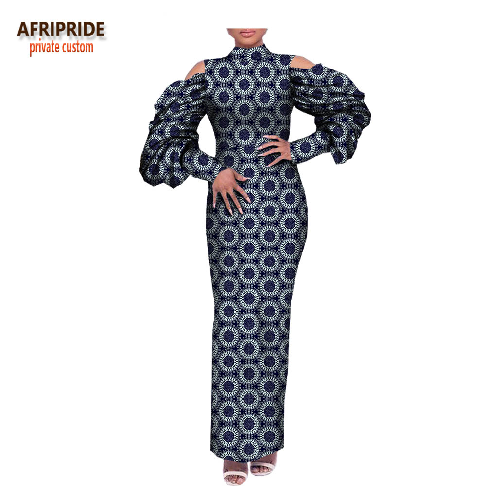 2018 spring casual straight dress for women AFRIPRIDE wrist lantern sleeve stand collar ankle length women cotton dress A1825019 notch collar lantern sleeve wrap botanical dress
