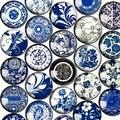 Круглый Стеклянный Cabohcon 12 мм Синий и Белый Фарфор Фотографии Купол Украшение Базы Поставок для Ювелирных Изделий Застежками Craft 50 шт.