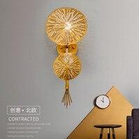 Роскошный Золотой цветок светодиодный настенный светильник гостиничный номер ужин бра Креативный дизайнер обеденный бра бесплатная доста