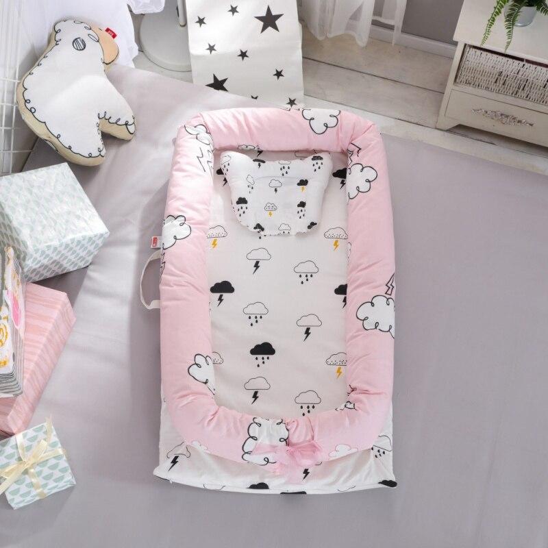 Portable bébé couffin lit bébé transat berceau respirant et sommeil nid avec oreiller